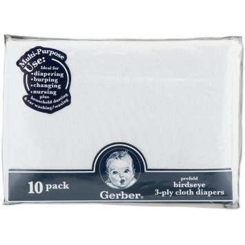 Gerber 10 Pack Prefold Birdseye 3-Ply Cloth Diapers, White (Discontinued by Manufacturer)