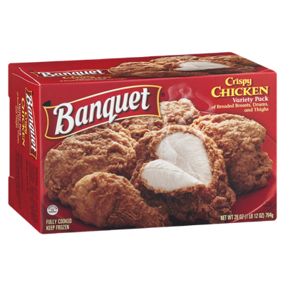 Banquet Crispy Chicken Variety Pack with Breaded Breasts, Drums and Thighs