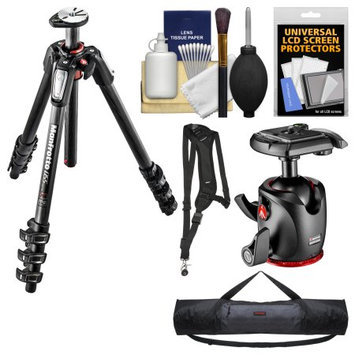 Manfrotto 055 Series 67 inch 4-Section Carbon Fiber Tripod & XPRO Ball Head with Case + Sling Strap + Kit