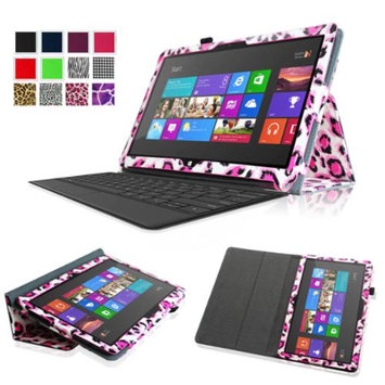 Fintie Folio Leather Case Cover for Microsoft Surface RT / Surface 2 10.6 inch Tablet, Leopard Magenta