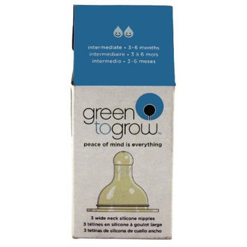 Green To Grow Replacement Silicone Nipple, Wide Neck, Intermediate, 3 per Pack; 2 packs.