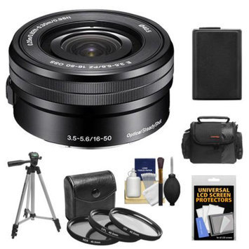 Sony Alpha E-Mount 16-50mm f/3.5-5.6 OSS PZ Lens with Battery + Case + 3 Filters + Tripod + Kit for A7, A7R, A7S, A3000, A5000, A5100, A6000 Cameras