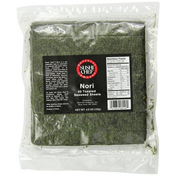 Sushi Chef Nori, 50-Count, 4.5-Ounce Toasted Seaweed Sheets