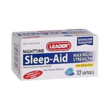 Mobility Products Leader Sleep Aid Gelcaps Maximum Strength Softgels 50 mg., 32 ct. (2 PACK)