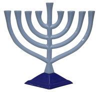 Artsy Casa Lamp Lighters Ultimate Judaica Menorah Pewter - Blue - 9.5H