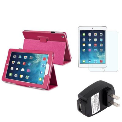 Insten INSTEN Hot Pink Leather Case Stand Cover+Protector+Wall Charger For Apple iPad Air 5 5th Gen