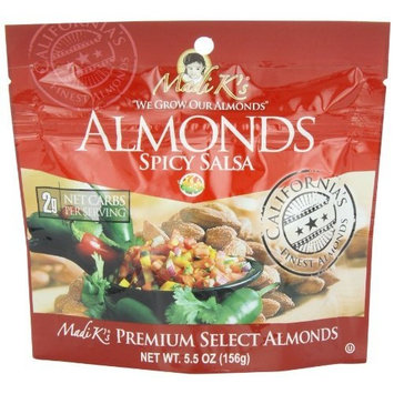 Madi K's Spicy Salsa Almonds, 5.5-Ounce Pouches (Pack of 12)