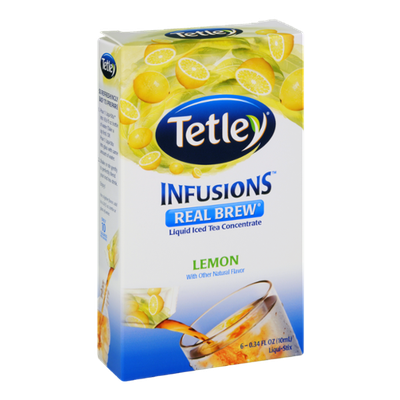 Tetley Infusions Real Brew Lemon Liquid Iced Tea Stix - 6 CT