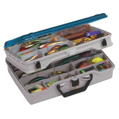 Plano Satchel Two-Level Tackle Box, Beige/Blue