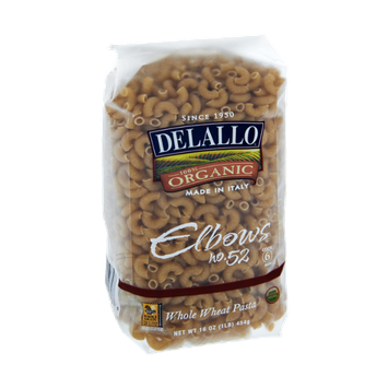 Delallo 100% Organic Elbows Whole Wheat Pasta