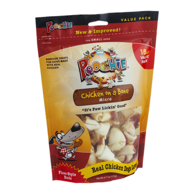 Poochie Chicken on a Bone Micro Rawhide Treats - 18 CT