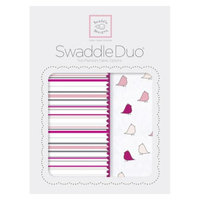 SwaddleDesigns Swaddle Designs Stripes SwaddleDuo 2pk - Pink Little Chickies