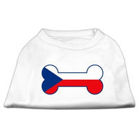 Mirage Pet Products 5111 XLWT Bone Shaped Czech Republic Flag Screen Print Shirts White XL 16