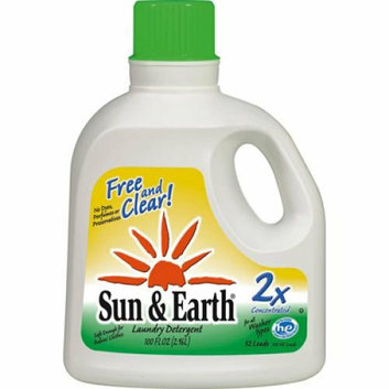 Sun & Earth Sun and Earth 2X Liquid Laundry Detergent Free and Clear Case of 4 100 oz