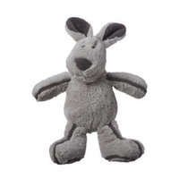 Multi Pet Multipet's Borderline Plush Super Soft Gray Rabbit Dog Toy that Squeaks