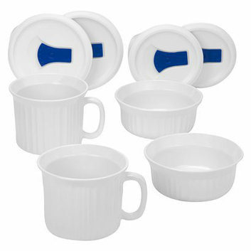 Corning Ware 8 piece White Pop-Ins Mug and Round Set