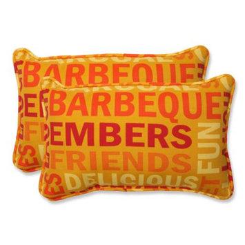 Pillow Perfect Outdoor 2-Piece Rectangular Throw Pillow Set - Yellow/Orange Grillin