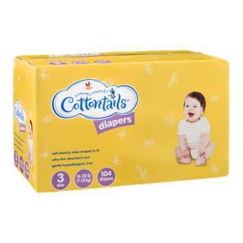 Ahold Cottontails Diapers 3-Size (16-28 lb.) - 104 CT