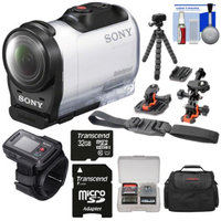 Sony Action Cam HDR-AZ1 Mini HD Video Camera Camcorder & Live View Remote with 32GB Card + 2 Helmet & Flat Surface Mounts + Case + Flex Tripod + Kit