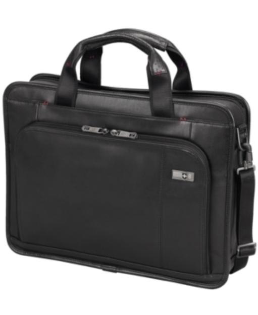Victorinox Architecture 3.0 Wainwright Leather Slimline Laptop Brief - Black