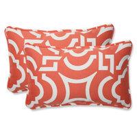 Pillow Perfect Outdoor 2-Piece Rectangular Throw Pillow Set - Orange/White Carmody