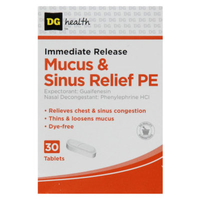 DG Health Mucus & Sinus Relief PE - Tablets, 30 ct