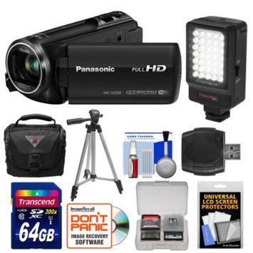 Panasonic HC-V250K HD Wi-Fi Video Camera Camcorder with 64GB Card + LED Video Light + Case + Tripod + Accessory Kit