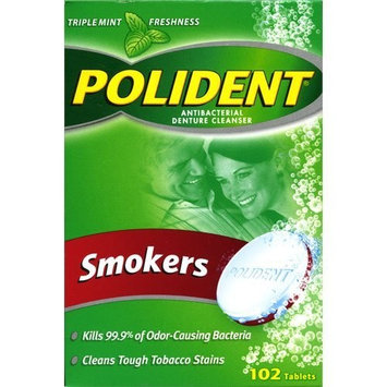 Polident Antibacterial Denture Cleanser, Smokers 102 Tablets
