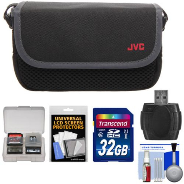 JVC CBV2013 Everio Video Camera Camcorder Case with 32GB Card + Raeder + Accessory Kit for GZ-E100, E300, E505, EX310, EX355, EX515, EX550, R10, R30, R70