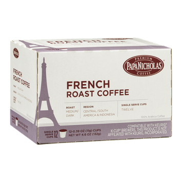 Papa Nicholas French Roast Coffee Single Serve Cups - 12 CT