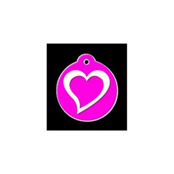 QR Code Pet ID Tag 01-CL-HE-NP Classic Heart Neon Pink Dog Tag