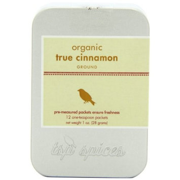 Tsp Spices Ground Organic True Cinnamon From Ceylon, 12 One-teaspoon Packets, 1-Ounce Tins (Pack of 3)