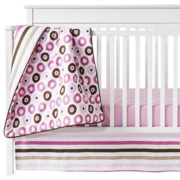 Bacati Pink Mod Dots & Stripes 10pc Crib Bedding Set ( w/out Bumper) by