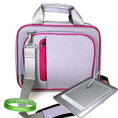 VG 13.3 Laptop Messenger bag with Shoulder Strap for all models of Wacom Bamboo ( Fun , Craft , Pen Tablet, pen and Touch Small Tablet ) -- PINK & PURPLE + Live * Laugh * Love Vangoddy Wrist Band!!!