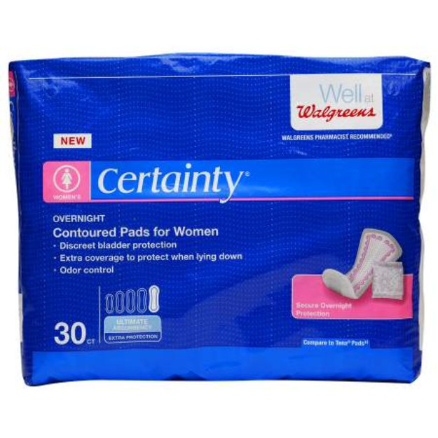 Walgreens Certainty Pads for Women, Overnight Absorption, 30 ea