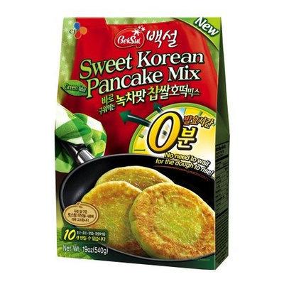 CJ Sweet Korean Pancake Mix, Green Tea Flavor, 19.04-Ounce Packages (Pack of 14)