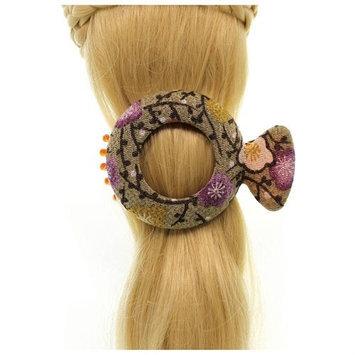 Annie Loto Studios Jewelry Tan Medium Circle Kimono Clip Hair Accessory Style, 1.75 in. - 310A