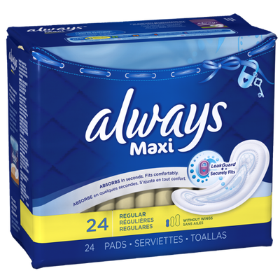 Always Maxi Regular without Wings, Unscented Pads 24 Count