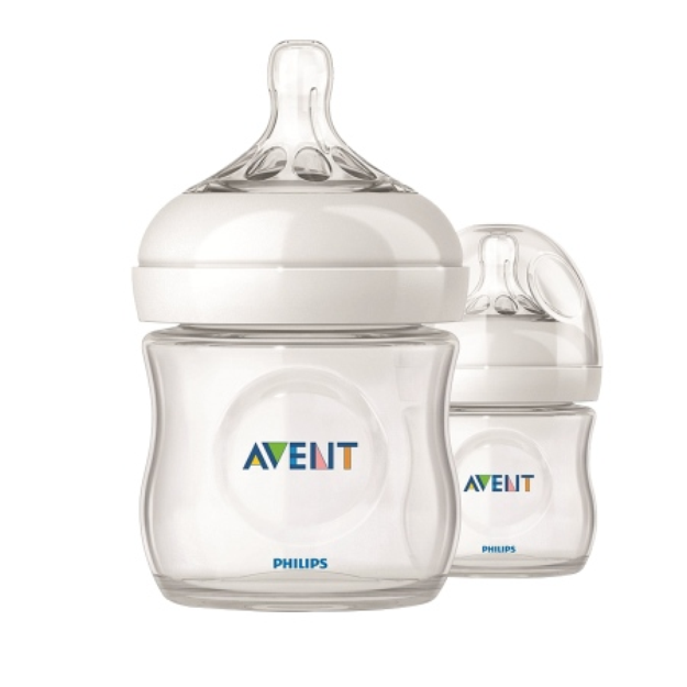 Philips Avent BPA Free Natural 4 Ounce Polypropylene Bottles, 2-Pack