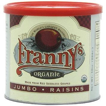 Franny's Organic Jumbo Seedless Raisin, 10 Ounce Tins (Pack of 6)