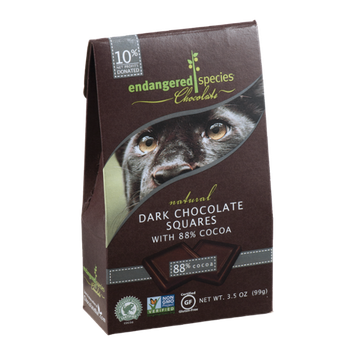 Endangered Species Chocolate Natural Dark Chocolate Squares With 88% Cocoa