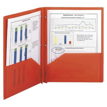Smead 8-1/2 x 11 Poly Two-Pocket Folder With Fasteners- Red (25 per