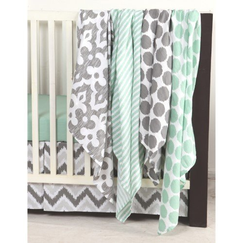 Bacati Ikat Dots/Stripes 4 Piece Swaddling Muslin Blanket Set