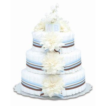 Bloomers Baby Diaper Cake Modern Cream Dahlias 3-Tier