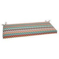 Pillow Perfect Outdoor Bench Cushion - Red/Turquoise Chevron