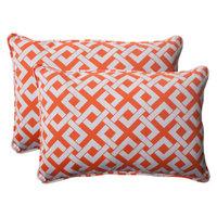 Pillow Perfect Outdoor 2-Piece Rectangular Toss Pillow Set - Green/White Boxed In