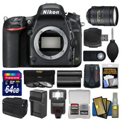 Nikon D750 Digital SLR Camera Body with 28-300mm VR Lens + 64GB Card + Case + Flash + Battery & Charger + Filters Kit