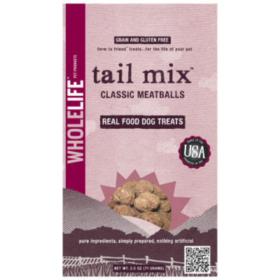 Whole Life Tail Mix Traditional Meatballs Dog Treats - 2.5oz