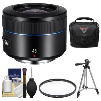Samsung 45mm f/1.8 NX Lens (Black) with Case + Tripod + UV Filter + Kit for Galaxy NX, NX30, NX210, NX300, NX2000, NX3000 Cameras
