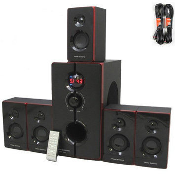 Theater Solutions TS516BT Home Bluetooth 5.1 Speaker Surround System 800 Watts with 2 Extension Cables TS516BT-2